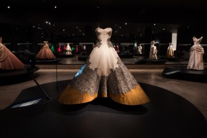 """Clover Leaf"" Ball Gown, 1953  Pink silk faille, copper silk shantung, black silk lace with ivory silk  The Metropolitan Museum of Art, Brooklyn Museum Costume Collection at The  Metropolitan Museum of Art, Gift of the Brooklyn Museum, 2009; Gift of  Josephine Abercrombie, 1953 (2009.300.784)  Image: © The Metropolitan Museum of Art"