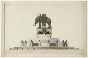 Jean-Antoine Alavoine Le Chevalier, Projets pour la fontaine de l'éléphant place de la Bastille, vers 1809-1819. Aquarelle 36 x 57 cm. © Musée Carnavalet / RogerViollet
